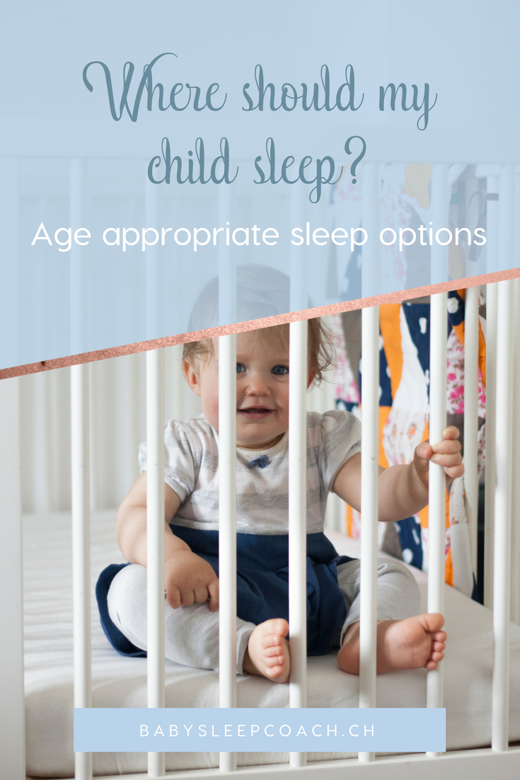 Not sure where your child should sleep? Here are a sleep coach's recommendations for age appropriate sleep options. #babysleep #babysleeptips #parentingtips #sleepcoaching #sleeptraining #sleeptips