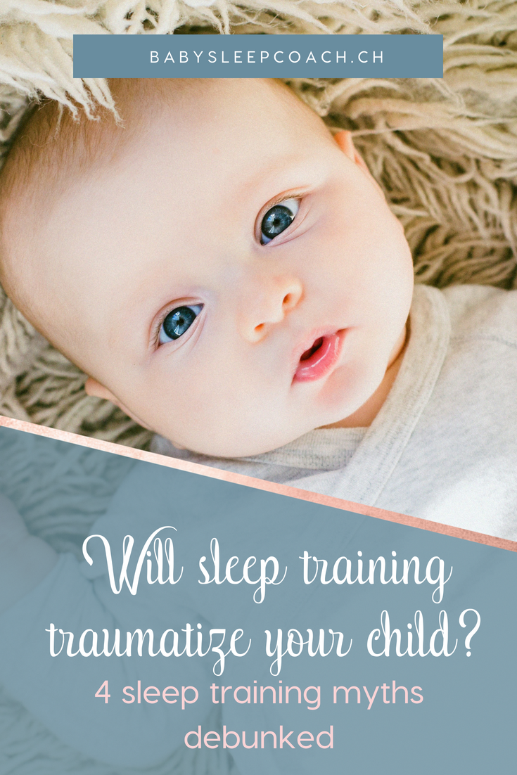 """Will sleep training traumatize my child?"" is the most common fear parents have when thinking about improving their child's sleep. The information on sleep training is confusing at best, so here are 4 sleep training myths debunked. #babysleep #sleeptraining #parenting #sleepcoach #babysleeptips"