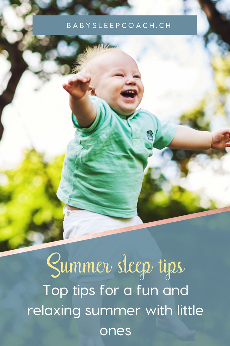 Has the summer heat and activities thrown off your baby's sleep schedule and keeping you up at night? Here are my top summer sleep tips that will help you get the rest you and your little one get the rest you need despite the heat. #babysleeptips #summerwithbaby #summerfunwithkids #sleeptips #sleepcoaching #parentingtips