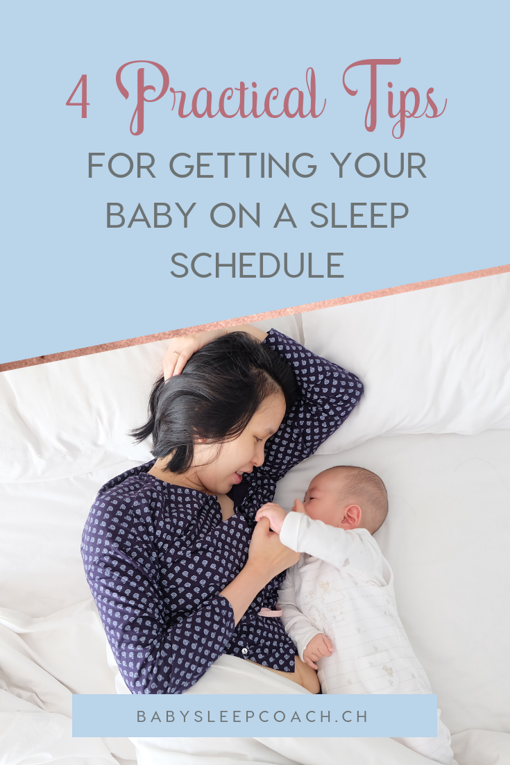 Worried about getting your baby on a sleep schedule? Or perhaps you've tried many times without success? Click through to read my 4 practical tips for starting your little one on a sleep schedule that sticks!