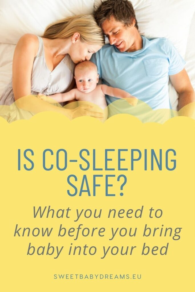 a mom and dad co-sleeping with their child