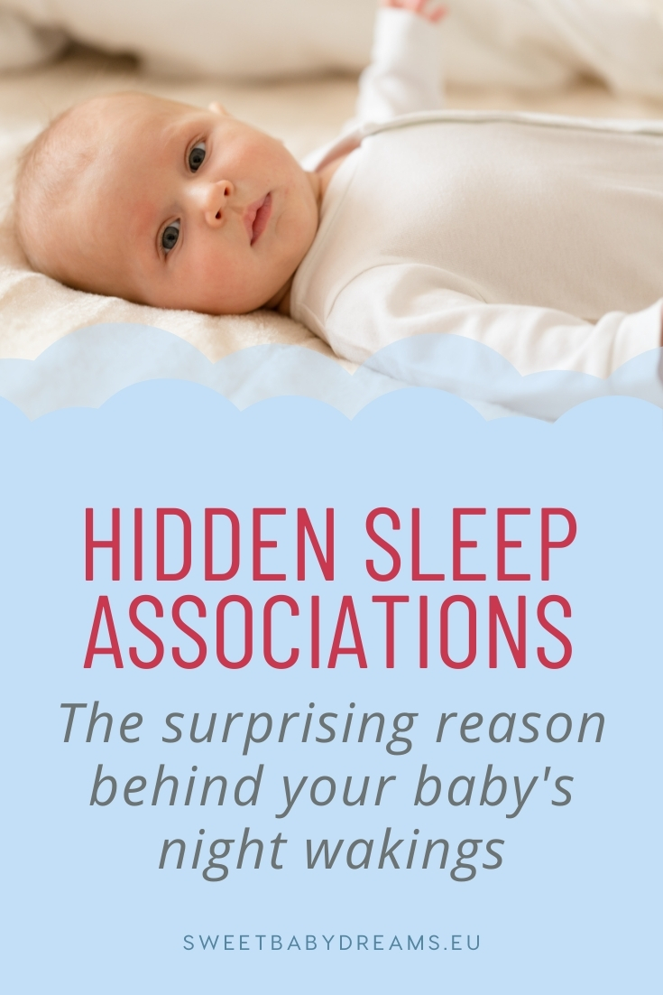 """Image of baby awake on bed with text """"Hidden sleep associations. Te surprising reason behind your baby's night wakings."""""""